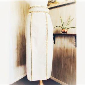 Burberry Prorsum Cream Blanket Stitch Pencil Skirt